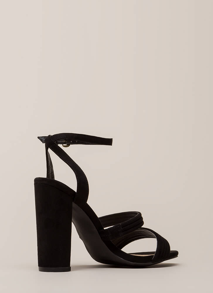 Stacked In My Favor Strappy Chunky Heels BLACK