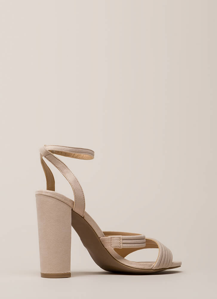 Stacked In My Favor Strappy Chunky Heels NUDE (You Saved $17)