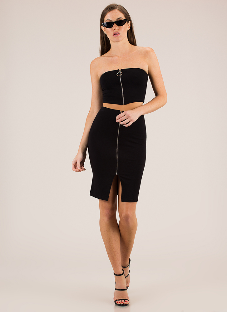 A Familiar Ring Zip-Front Skirt BLACK