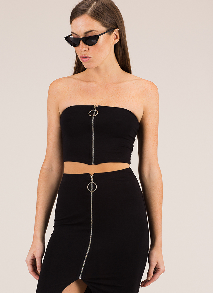 A Familiar Ring Zip-Front Tube Top BLACK