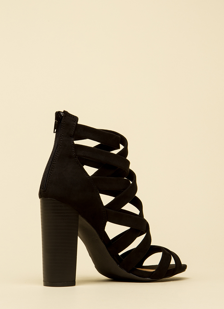 Strappy News Caged Chunky Heels BLACK