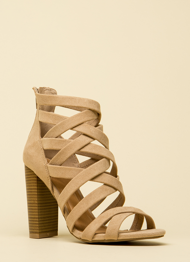 Strappy News Caged Chunky Heels NATURAL