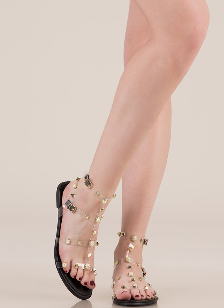My Pearl Studded Clear Caged Sandals BLACK