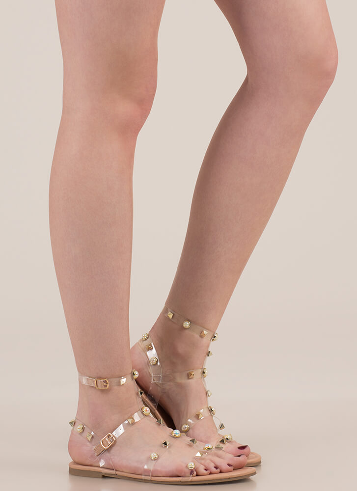 My Pearl Studded Clear Caged Sandals NUDE