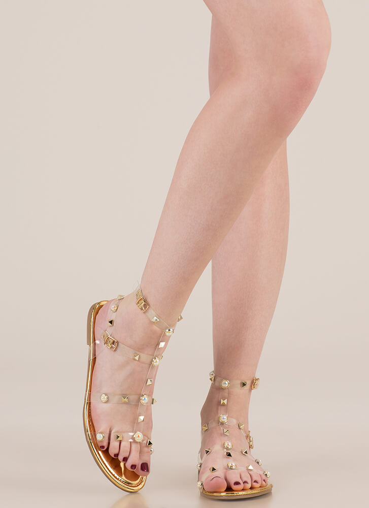 My Pearl Shiny Studded Caged Sandals GOLD (Final Sale)