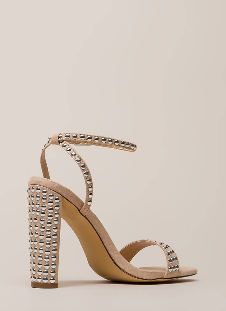 Stud Finder Strappy Square-Toe Heels NUDE