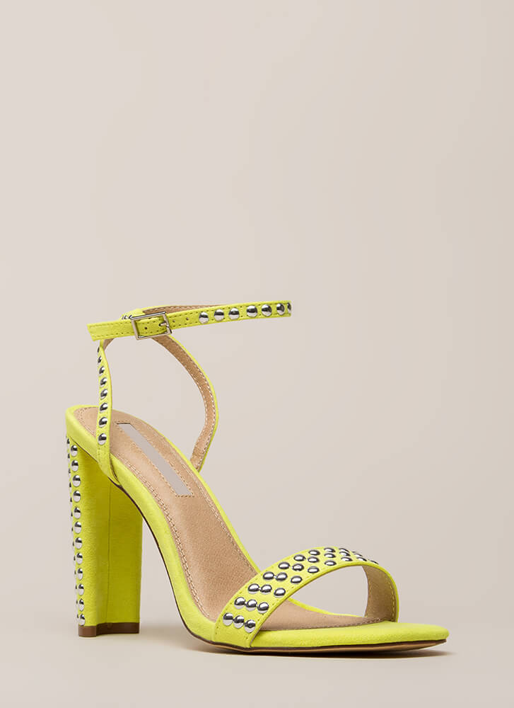 Stud Finder Strappy Square-Toe Heels YELLOW