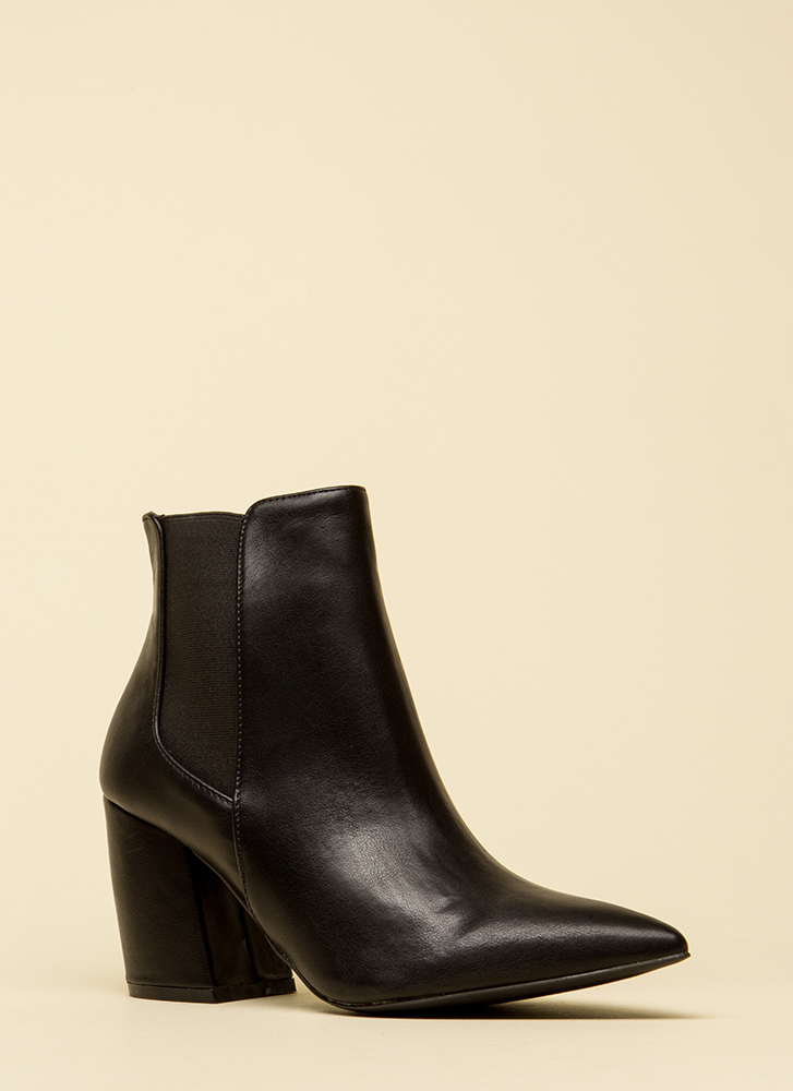 It's A Yes Pointy Faux Leather Booties BLACK
