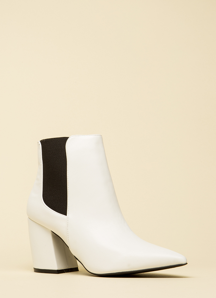 It's A Yes Pointy Faux Leather Booties WHITE