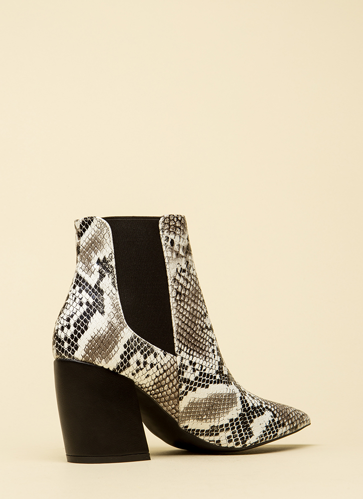 It's A Yes Pointy Faux Snake Booties BLACKWHITE