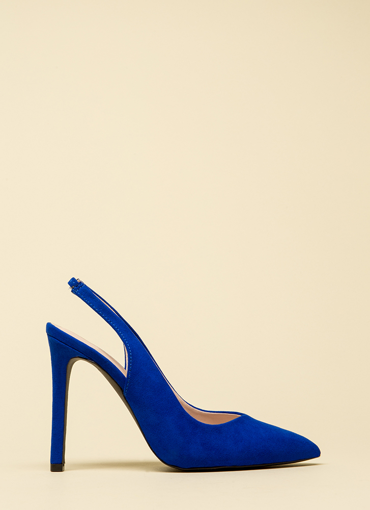 Step Right In Pointy Slingback Heels COBALTBLUE