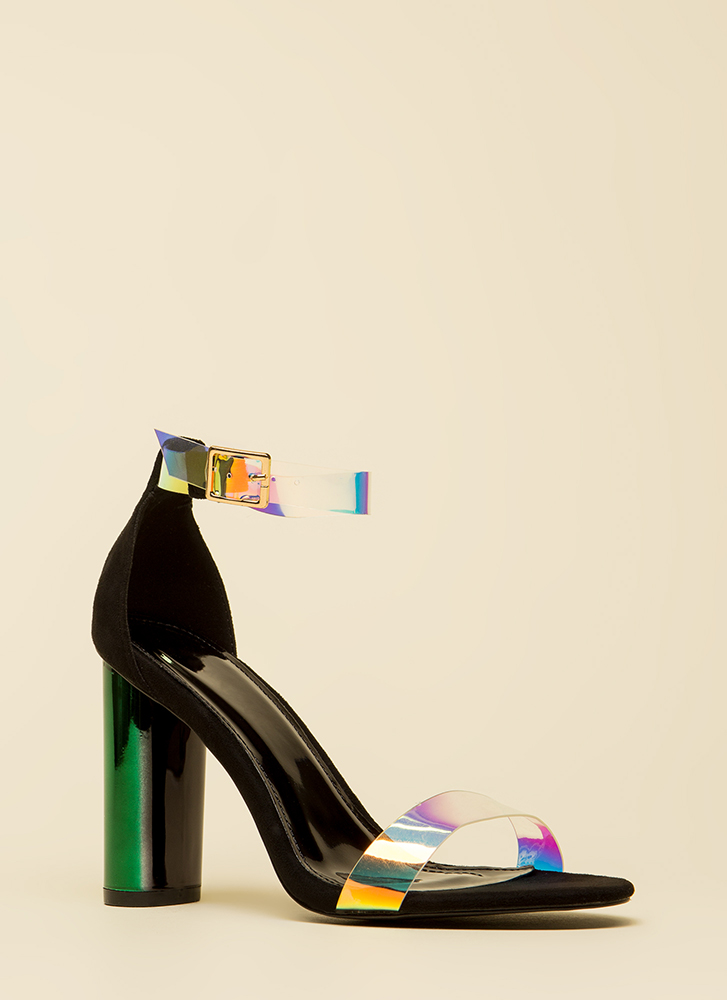 Shine And Sheen Jelly Strap Chunky Heels BLACK