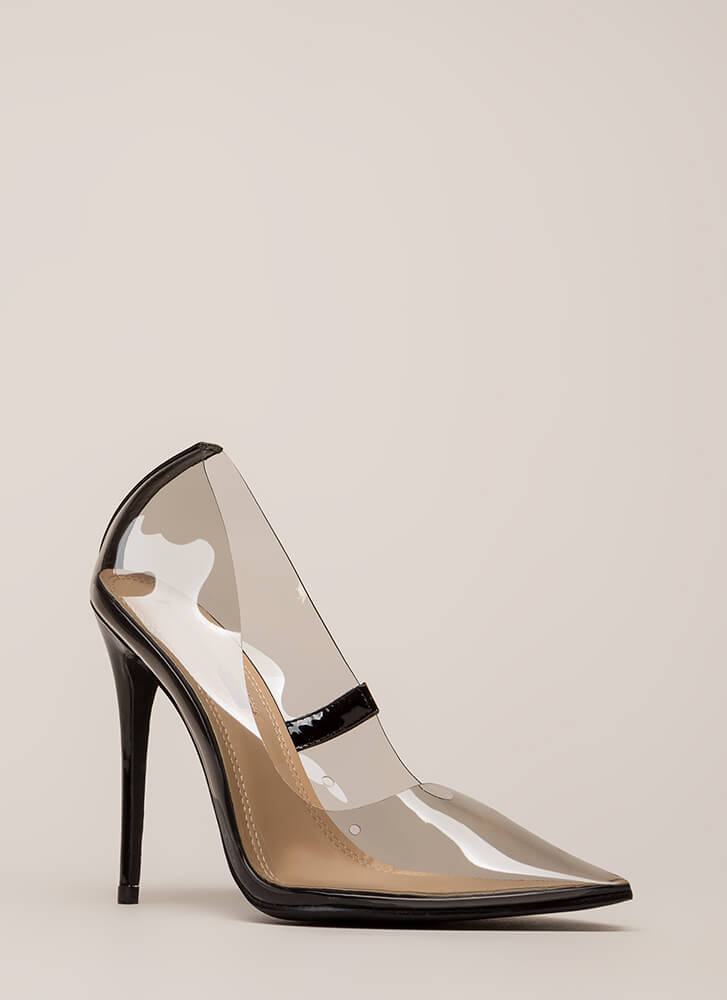 See You Through It Clear Pointy Pumps BLACK