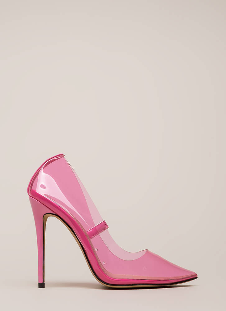 See You Through It Clear Pointy Pumps FUCHSIA