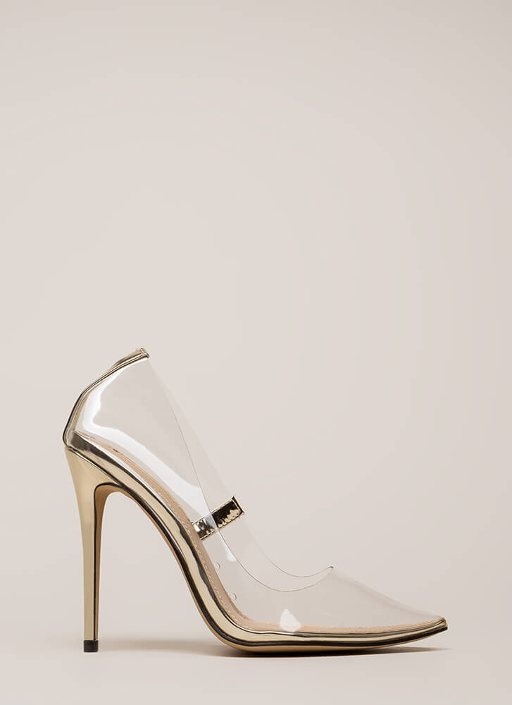 See You Through It Clear Pointy Pumps GOLD