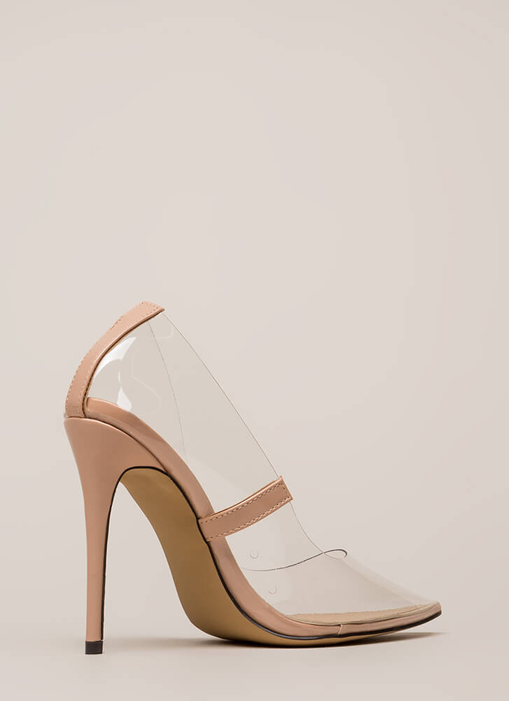 See You Through It Clear Pointy Pumps NUDE