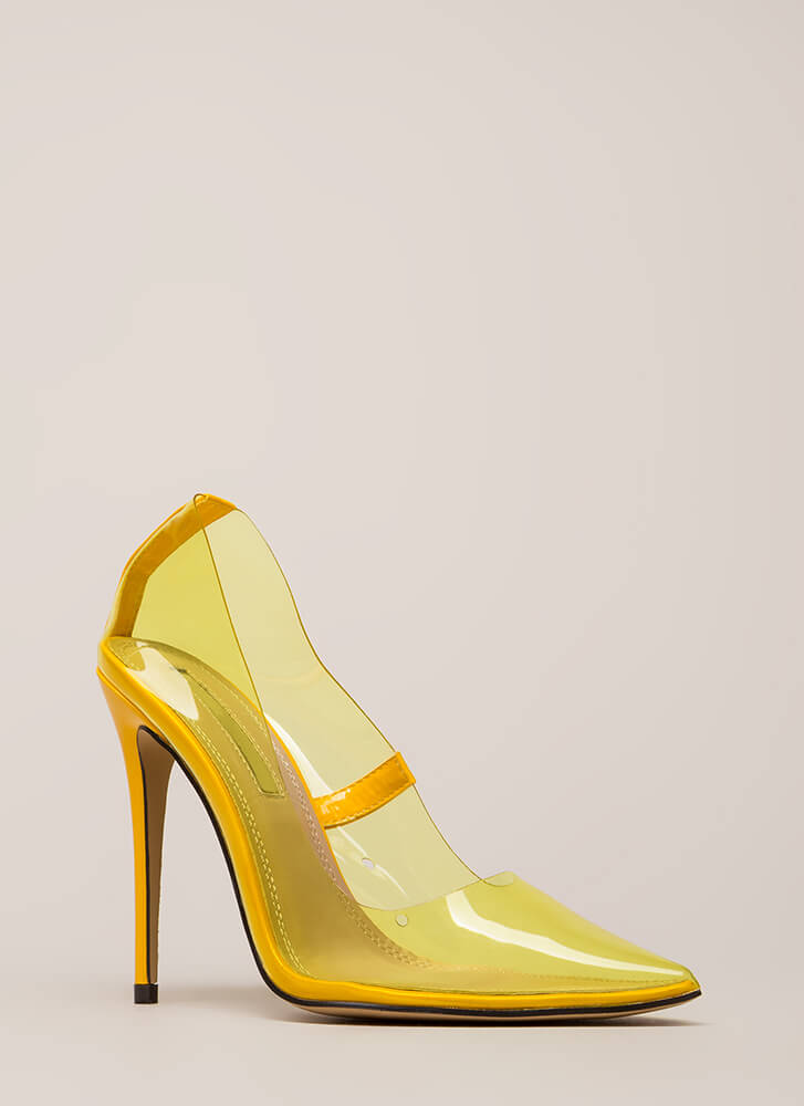 See You Through It Clear Pointy Pumps YELLOW