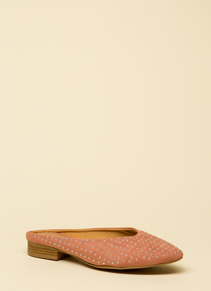 Dot Your Eyes Studded Mule Flats DUSTYBLUSH (Final Sale)