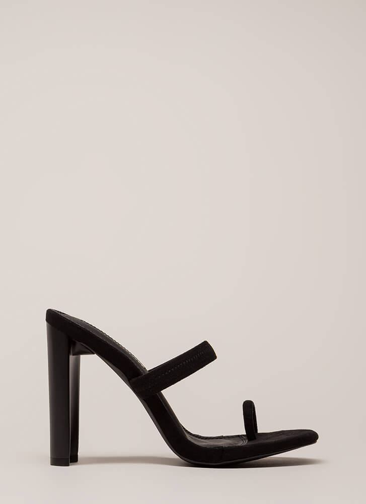 On Your Toes Strappy Chunky Heels BLACK