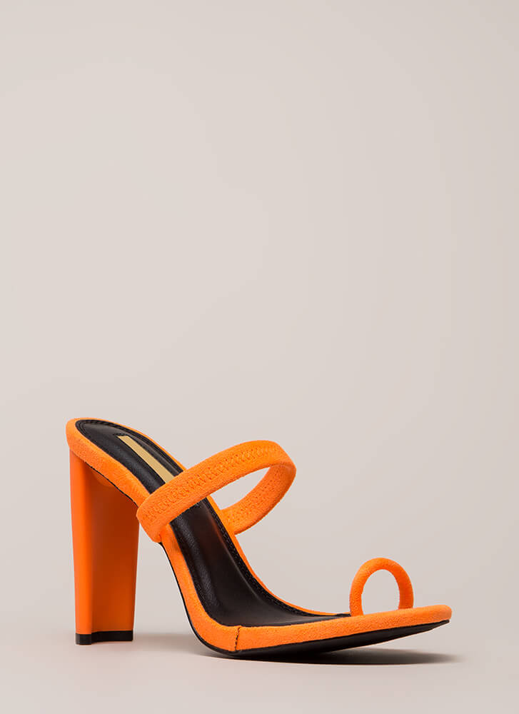 On Your Toes Strappy Chunky Heels ORANGE
