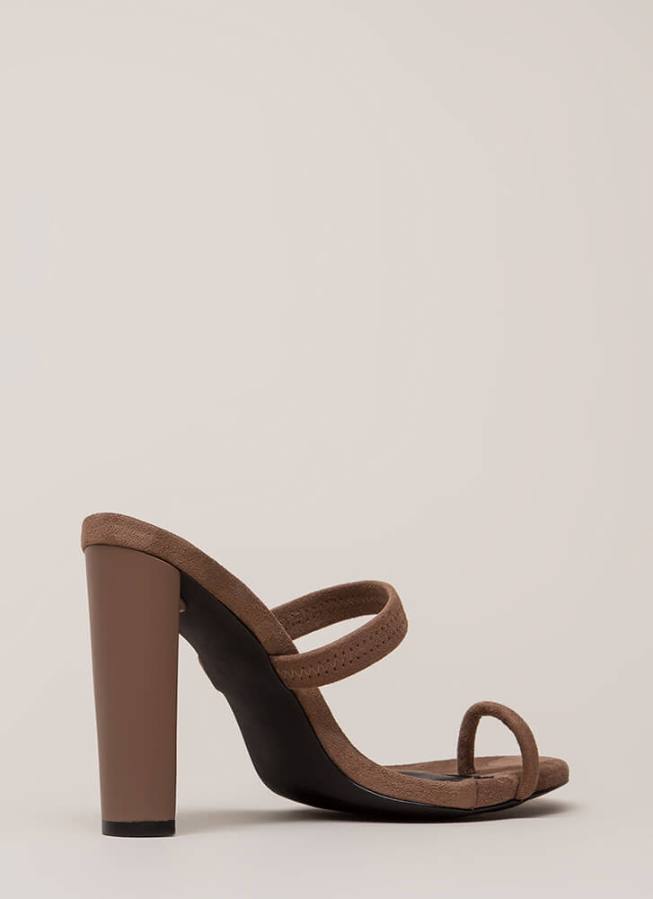 On Your Toes Strappy Chunky Heels TAUPE