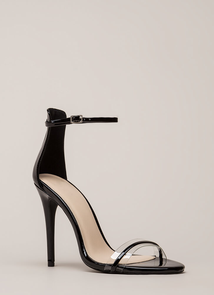 Clearly Gorgeous Skinny Strap Heels BLACK
