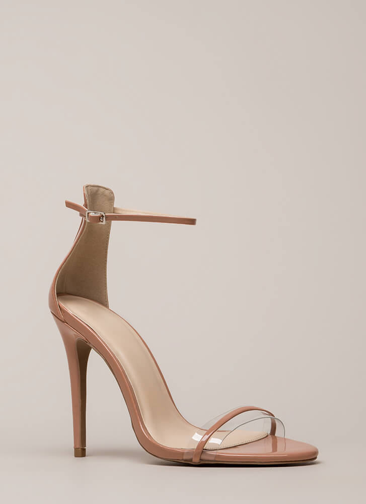 Clearly Gorgeous Skinny Strap Heels BLUSH
