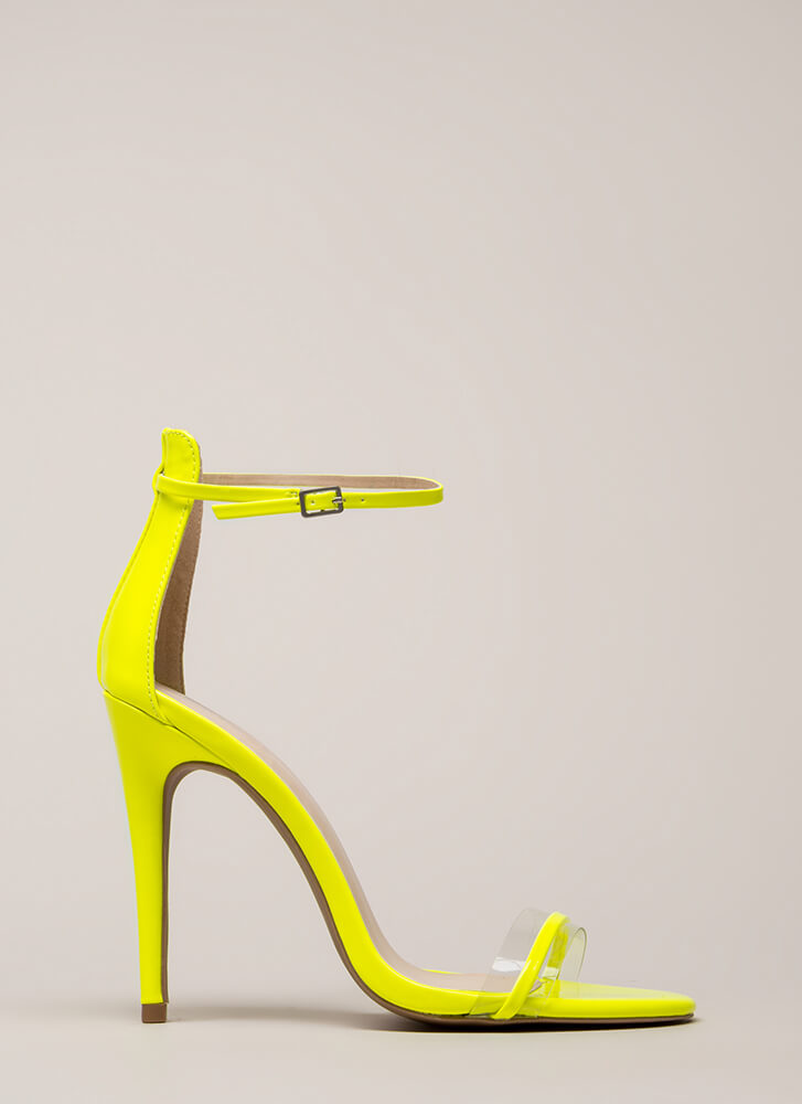 2d5487ecd86c Clearly Gorgeous Skinny Strap Heels NEONYELLOW Clearly Gorgeous Skinny  Strap Heels NEONYELLOW ...