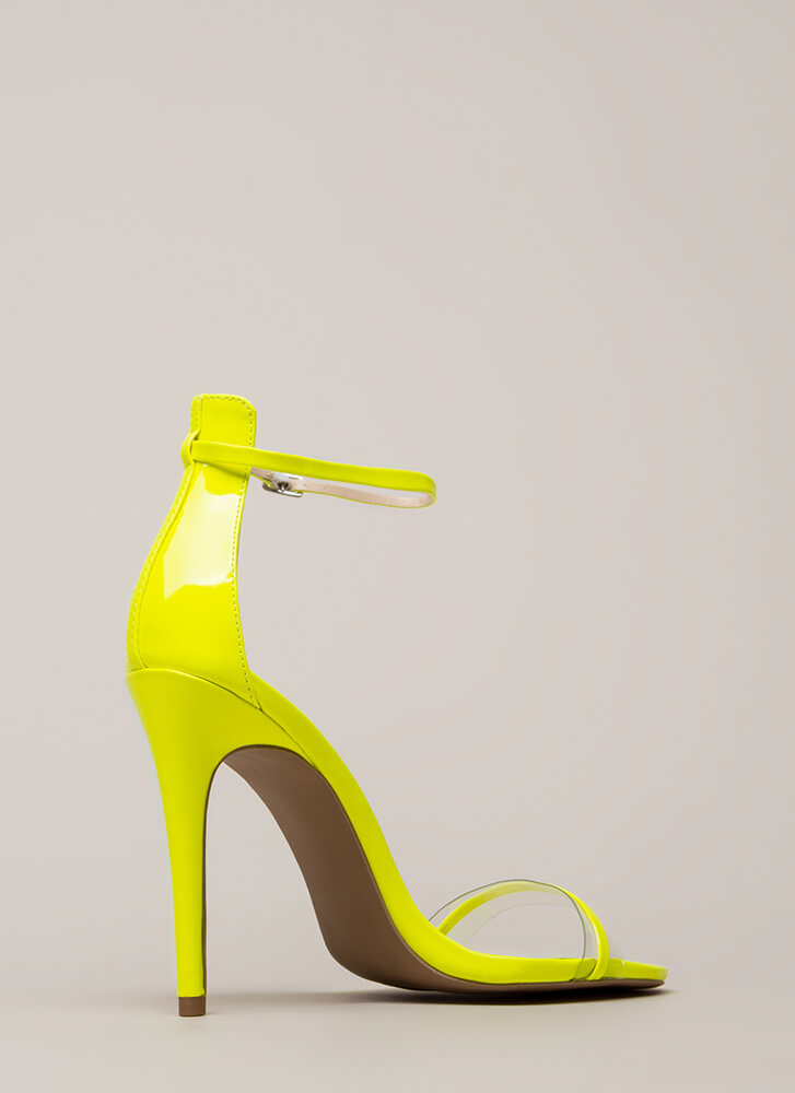 Clearly Gorgeous Skinny Strap Heels NEONYELLOW
