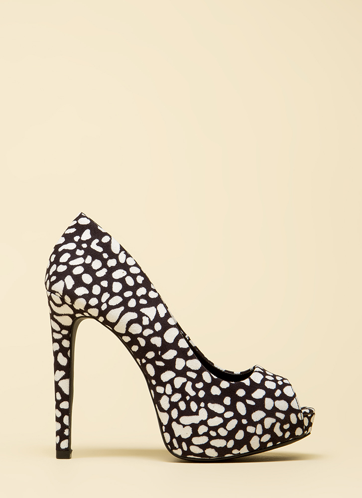 Rock This Way Peep-Toe Platforms BLACKWHITE