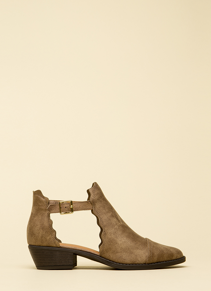 Wave Through A Window Strappy Booties TAUPE