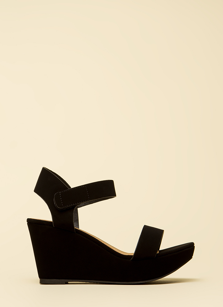 Easy A Faux Nubuck Platform Wedges BLACK
