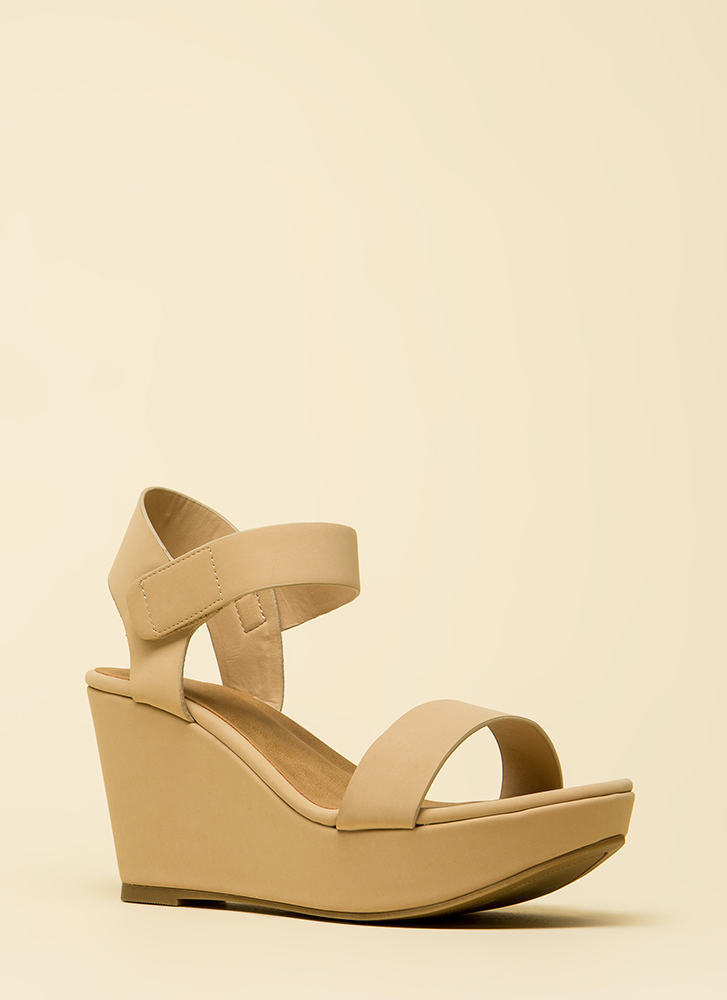 Easy A Faux Nubuck Platform Wedges NUDE