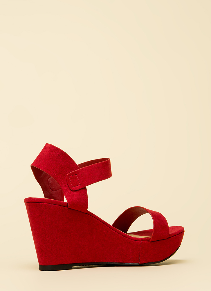 Easy A Faux Suede Platform Wedges RED