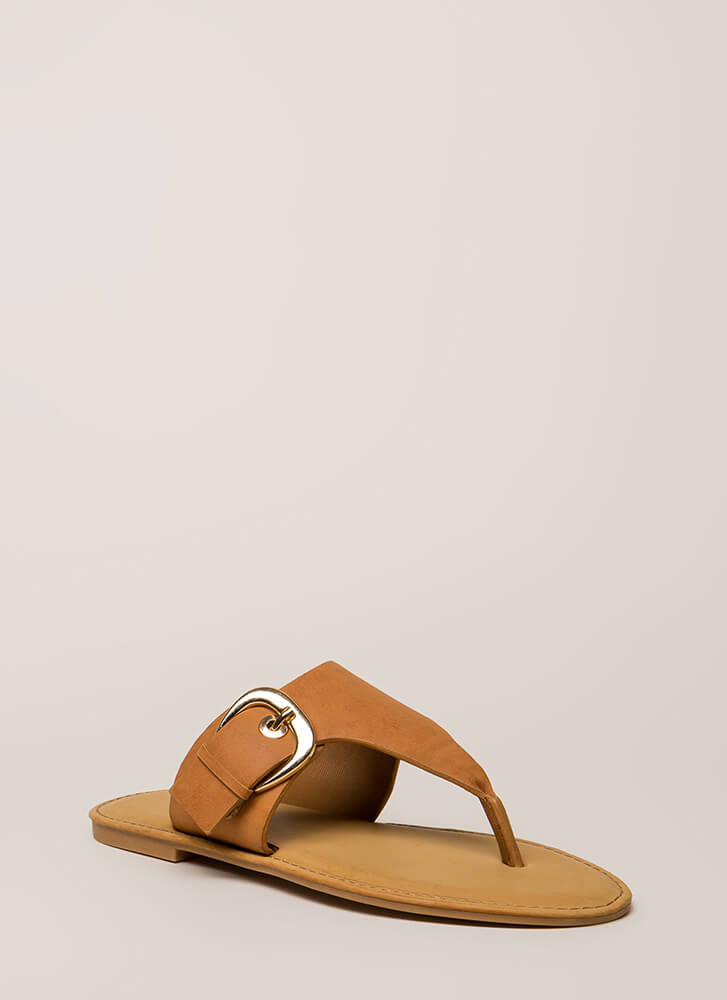 Vacation Time Buckled Thong Sandals TAN
