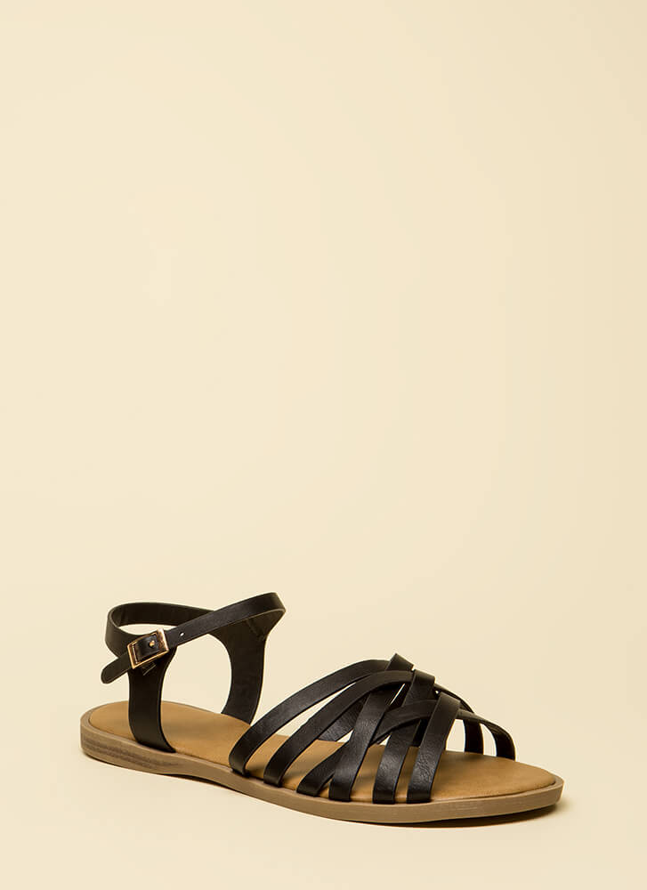Enjoy It Strappy Faux Leather Sandals BLACK