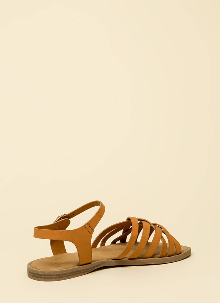 Enjoy It Strappy Faux Leather Sandals TAN
