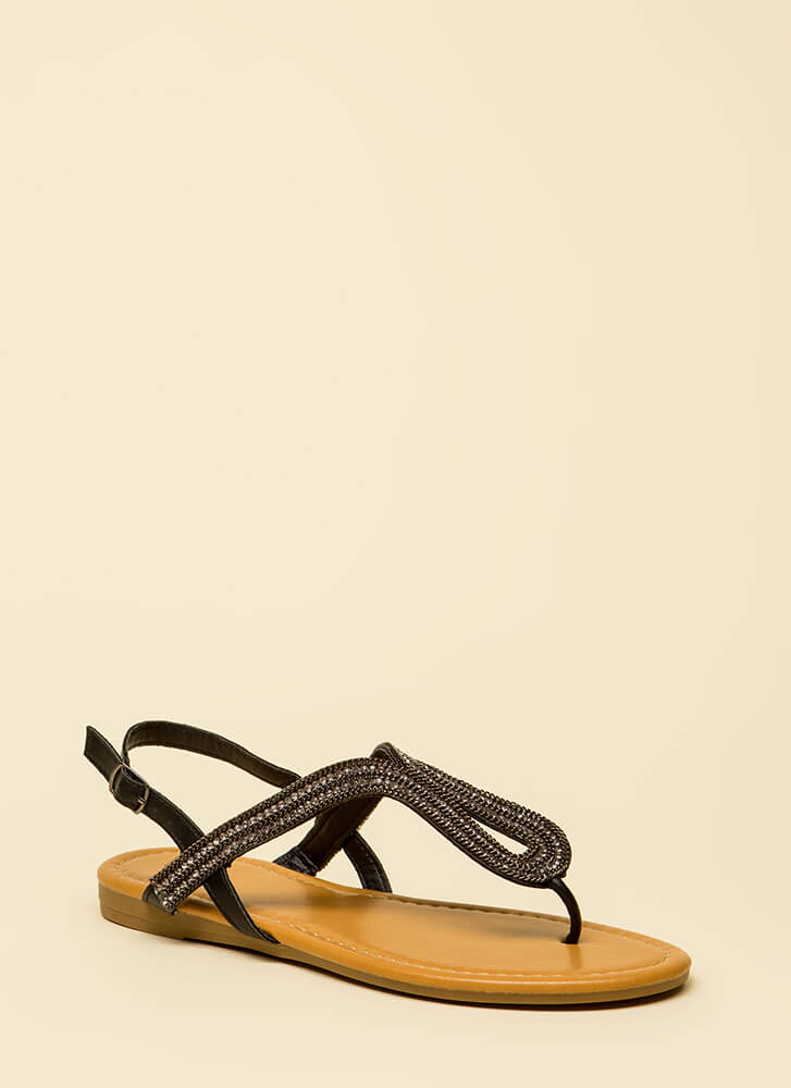 Chain-ge It Up Jeweled Thong Sandals BLACK
