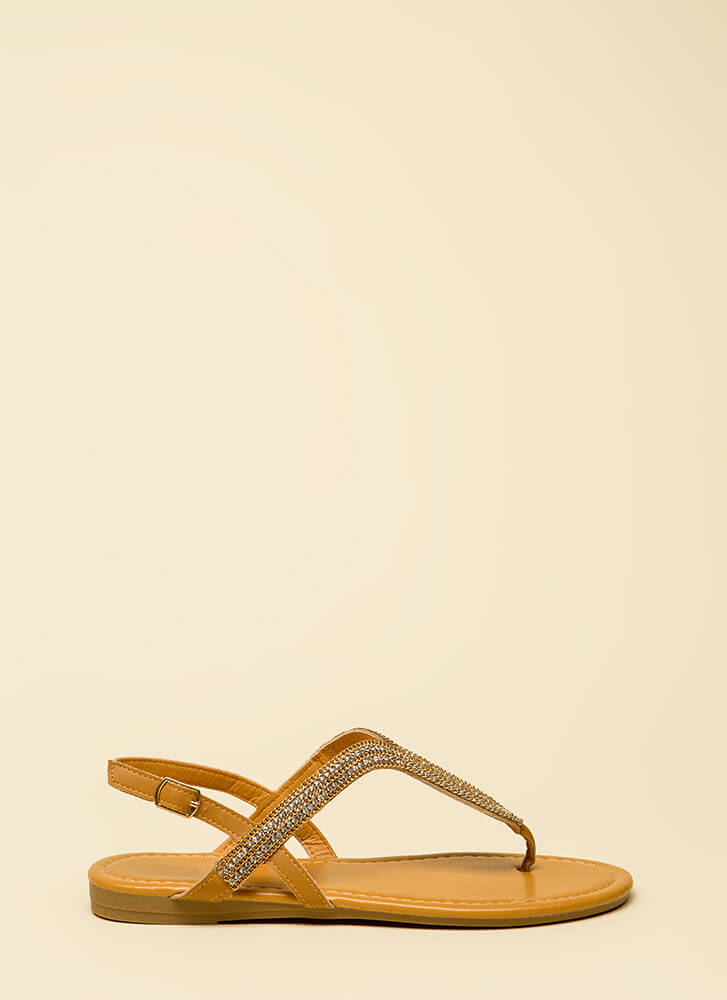 Chain-ge It Up Jeweled Thong Sandals TAN