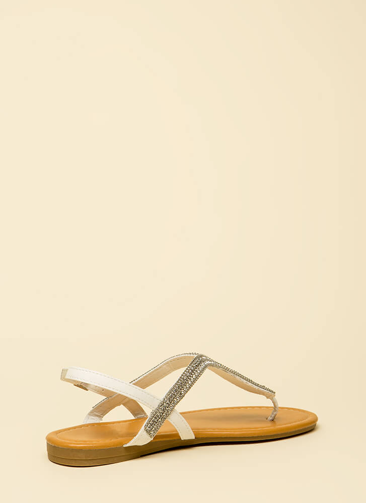 Chain-ge It Up Jeweled Thong Sandals WHITE