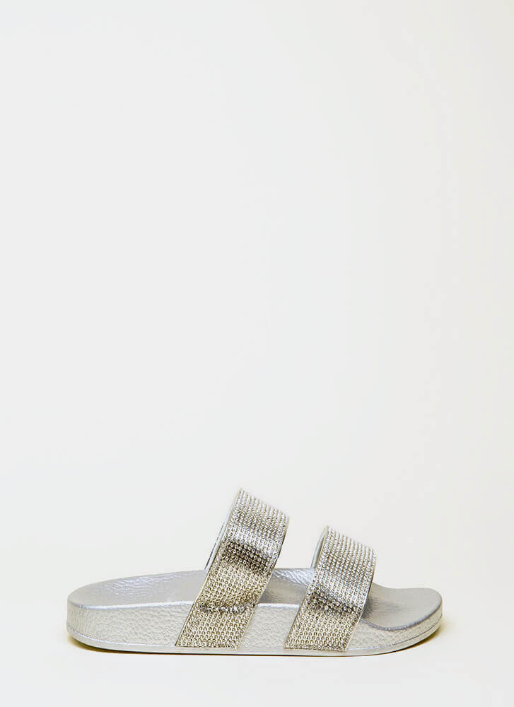 More Sparkle Jeweled Slide Sandals SILVER