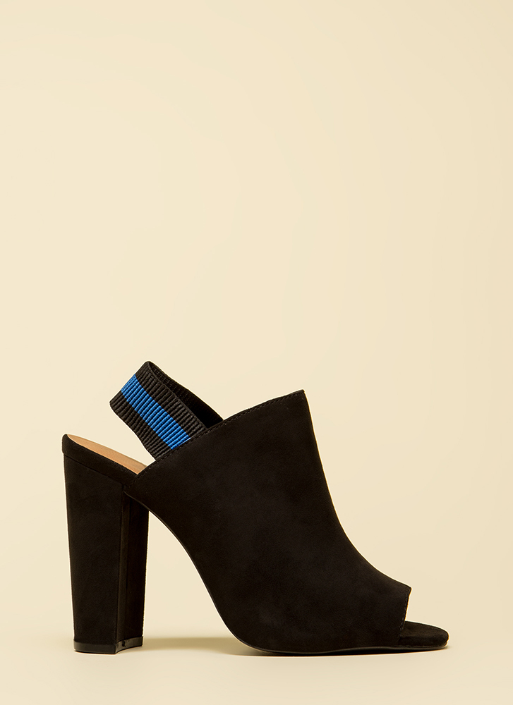 Sporty Chic Chunky Peep-Toe Heels BLACK