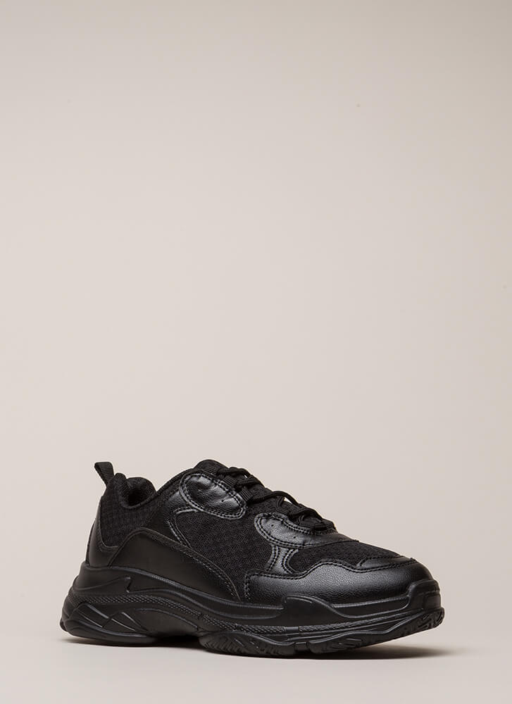 Athletic Prowess Platform Sneakers BLACK