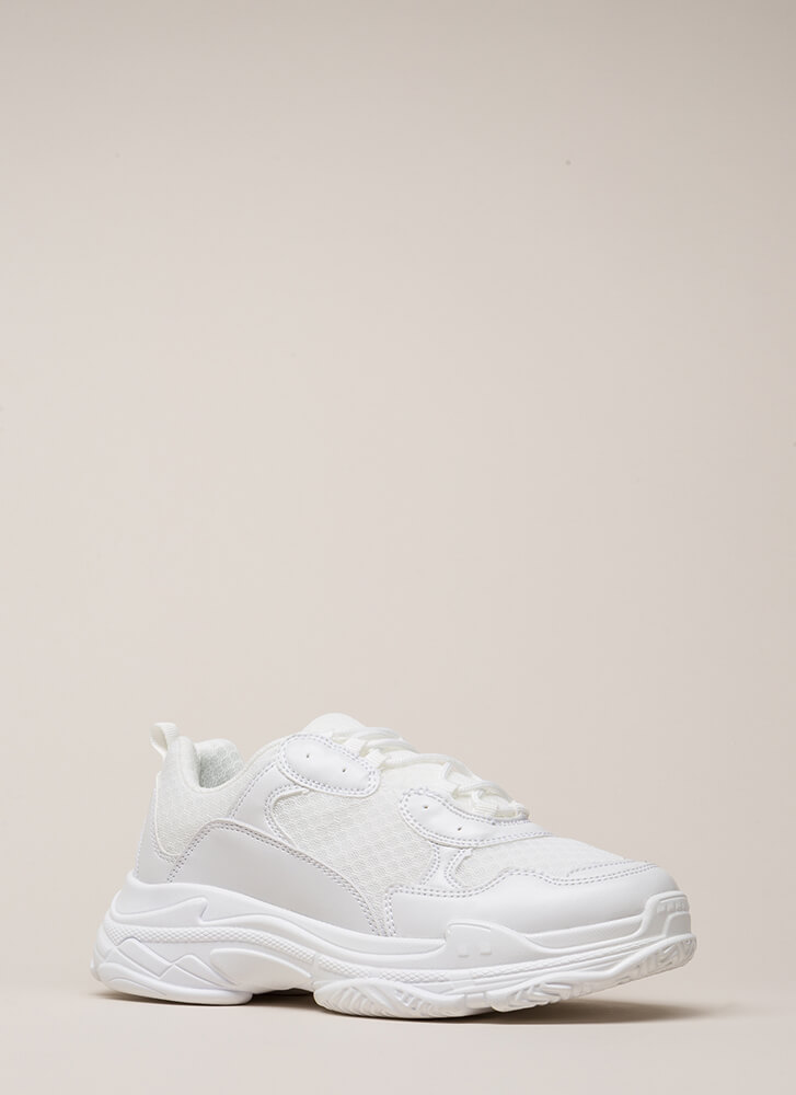 Athletic Prowess Platform Sneakers WHITE