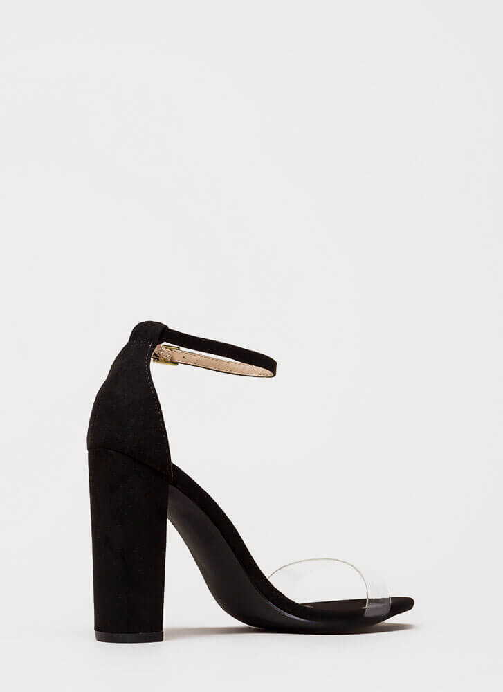 Clear Winner Chunky Ankle Strap Heels BLACK
