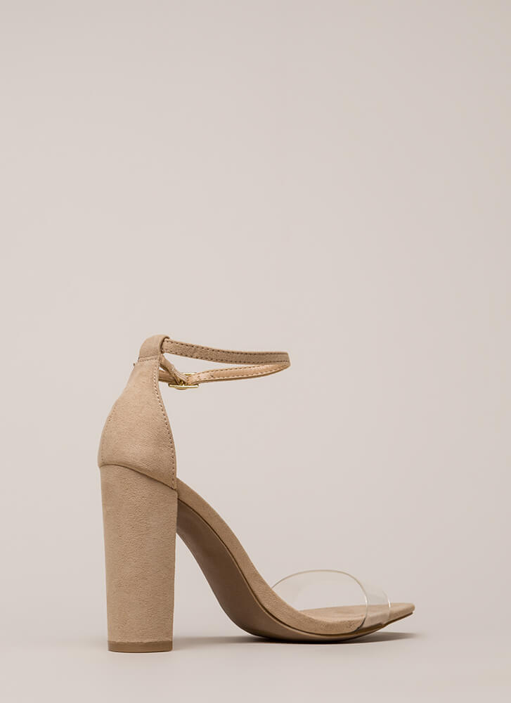 Clear Winner Chunky Ankle Strap Heels NATURAL