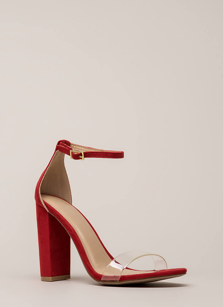 Clear Winner Chunky Ankle Strap Heels RED