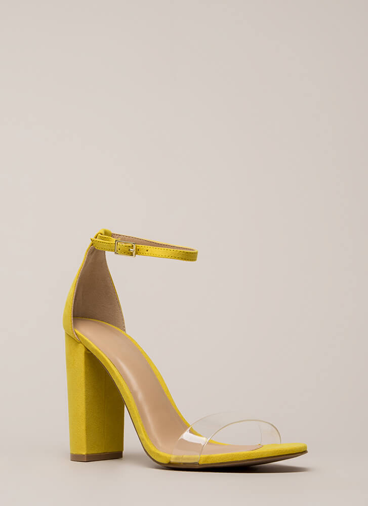 Clear Winner Chunky Ankle Strap Heels YELLOW
