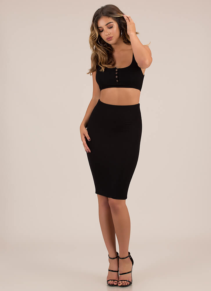Seriously Sleek Top And Skirt Set BLACK