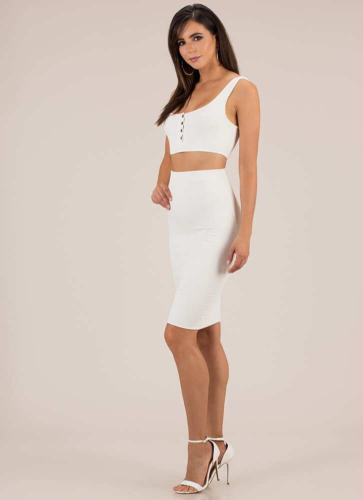 Seriously Sleek Top And Skirt Set WHITE